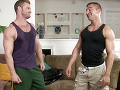 Jr Bronson sucking Landon Conrads throbbing cock