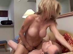 Hot coupled with roasting blond milf fucking coupled with eating cum.